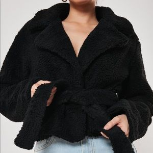Missguided Cropped Teddy Jacket